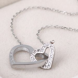 Michael Kors Silver Necklace Double Heart New